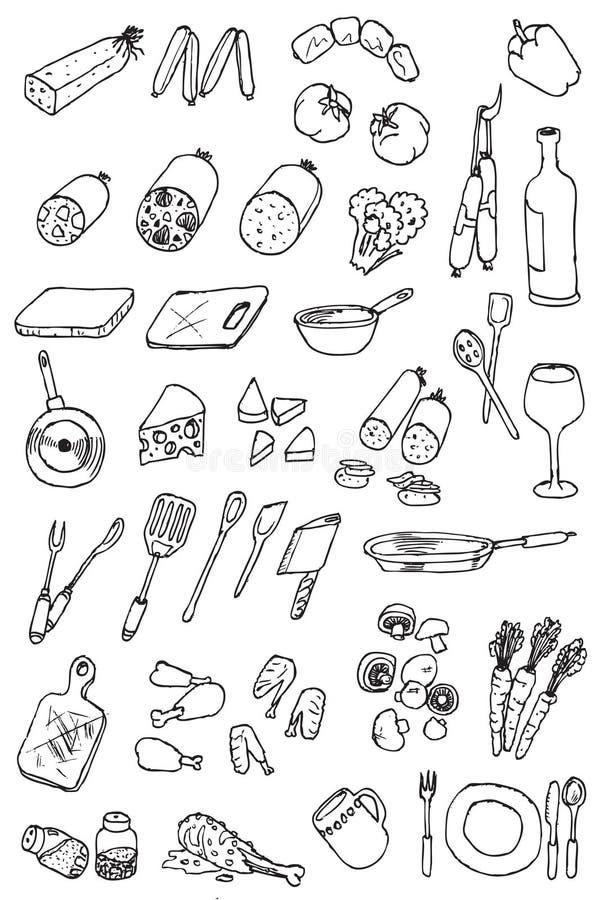 Coleção do ícone do alimento da tração da mão ilustração royalty free