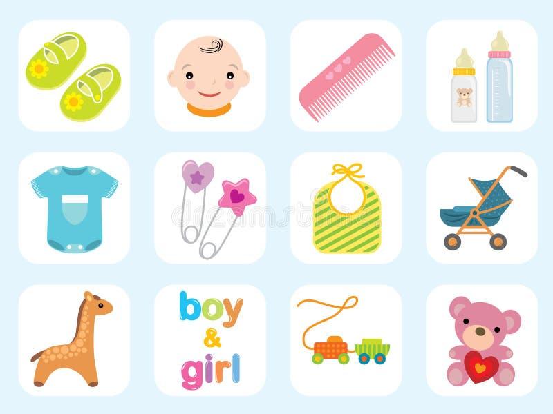 Coleção do ícone do bebê ilustração royalty free