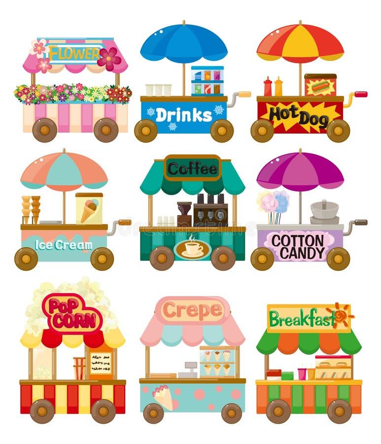 Coleção do ícone do carro da loja do mercado dos desenhos animados