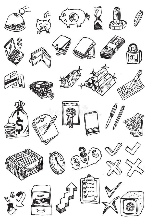 Coleção do ícone do dinheiro da tração da mão ilustração royalty free