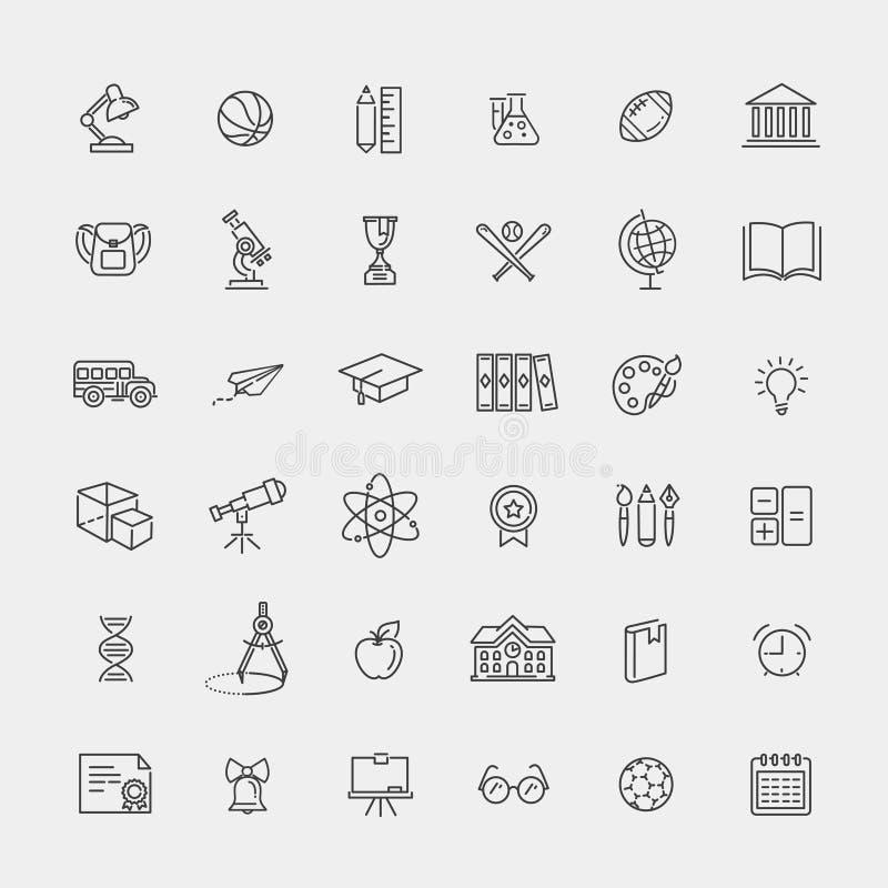 Coleção do ícone do esboço - educação escolar ilustração do vetor