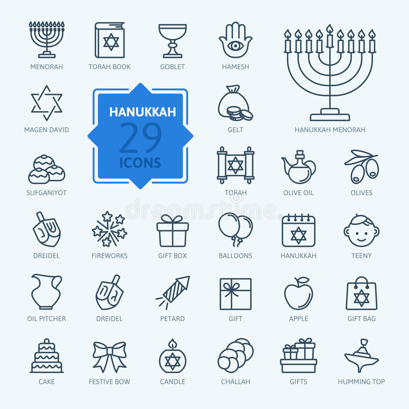 Coleção do ícone do esboço - símbolos do Hanukkah ilustração stock