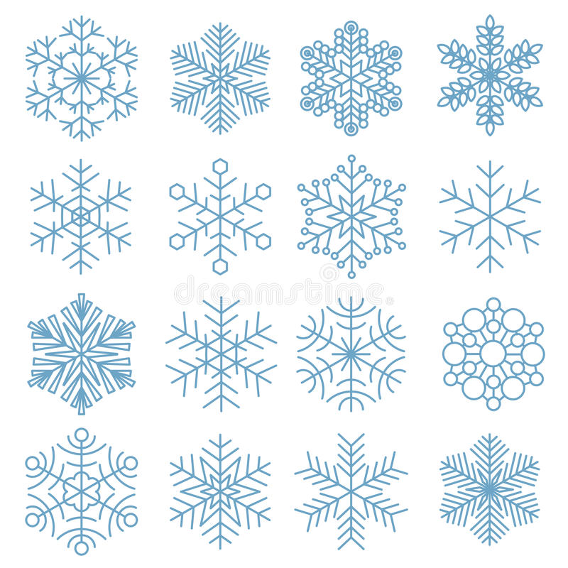 Coleção do ícone do floco de neve ilustração stock
