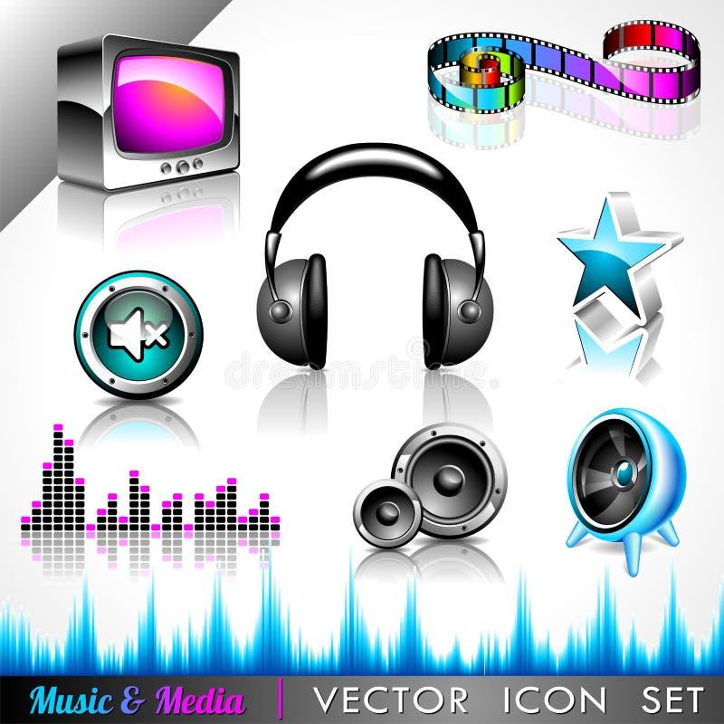 Coleção do ícone do vetor em um tema da música. ilustração do vetor