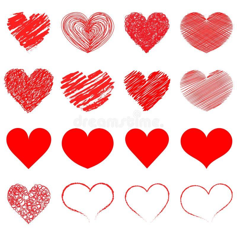 Coleção do ícone dos corações Transmissão em direto do vídeo, bate-papo, gostos Coleção de ilustrações do coração, grupo dos ícon ilustração royalty free