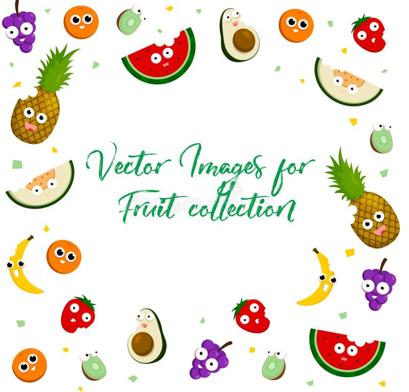 Coleção do ícone do fruto para todo o desenhista ilustração do vetor