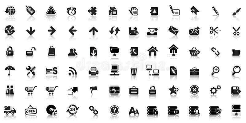 Coleção do ícone preto da Web ilustração royalty free