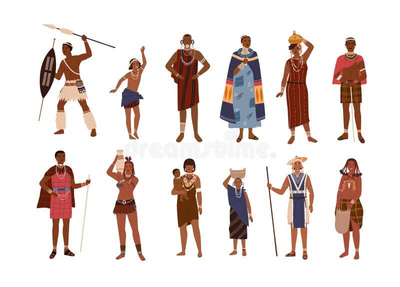 A coleção do aborígene ou dos indígenas de África vestiu-se na roupa étnica isolada no fundo branco Grupo de ilustração do vetor