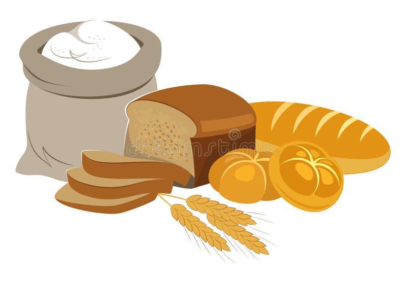Coleção do alimento dos produtos da padaria Logotipo da padaria e do pão ilustração do vetor