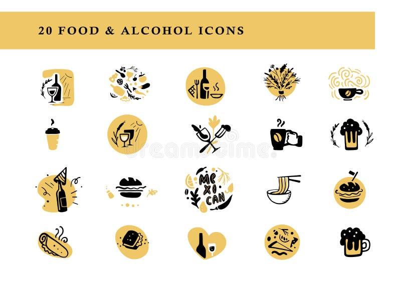 A coleção do alimento liso do vetor e os arranjos & os ícones do álcool ajustou-se isolado no fundo branco ilustração royalty free