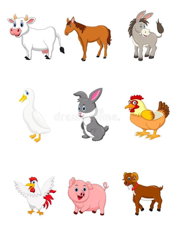 Coleção do animal de exploração agrícola ajustada no fundo branco ilustração stock