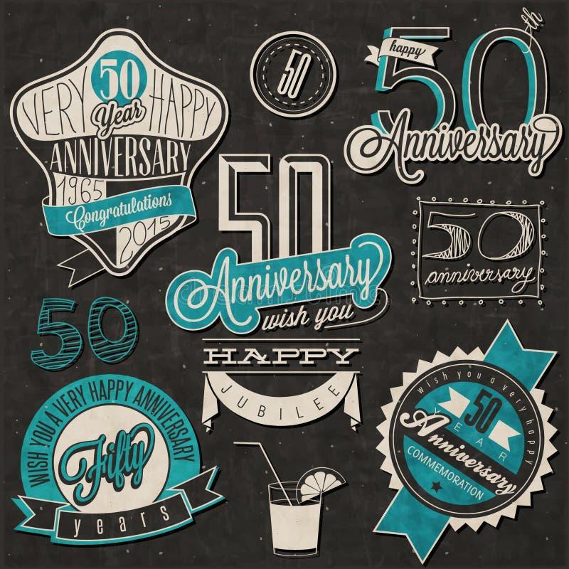 Coleção do aniversário do estilo 50 do vintage ilustração do vetor
