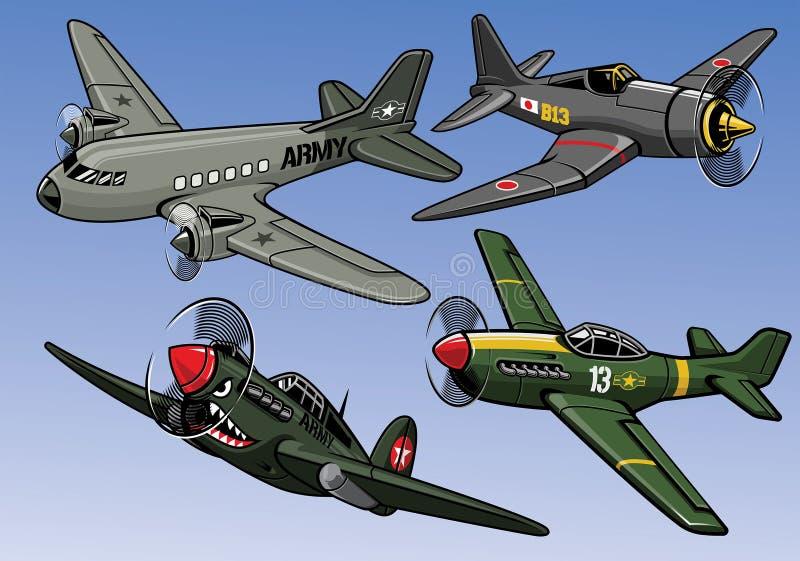 Coleção do avião militar da guerra mundial 2 da cor completa ilustração royalty free