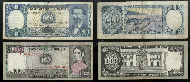 Coleção do banco central das cédulas velhas do estado de Bolívia, Ámérica do Sul imagem de stock royalty free