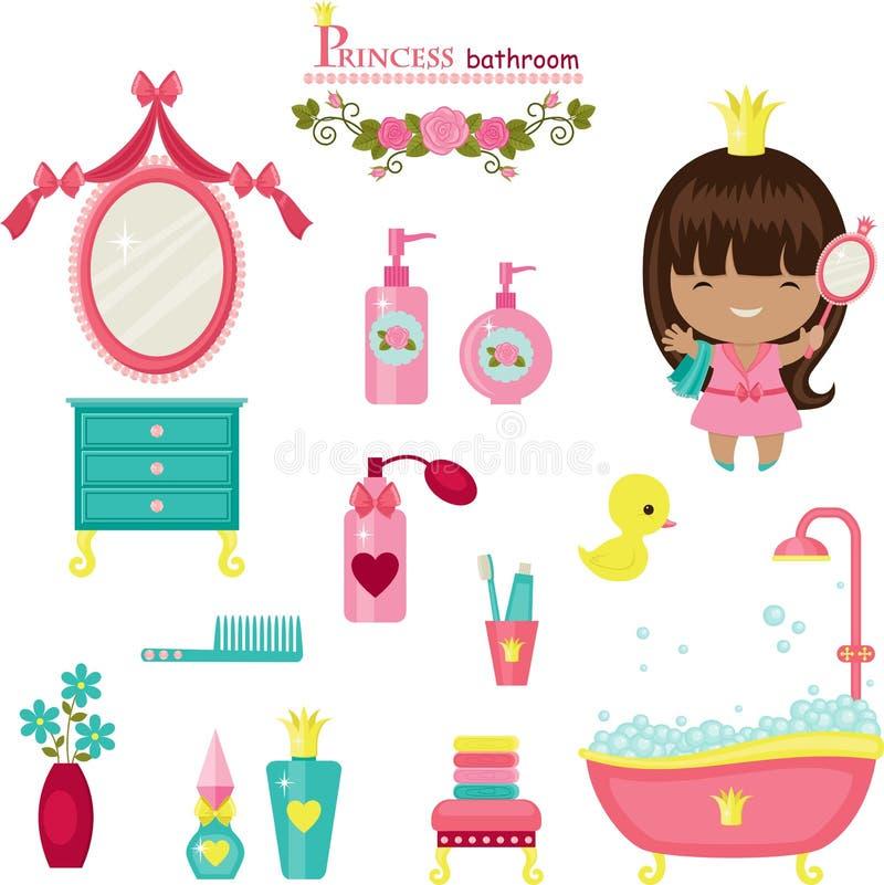 Coleção do banheiro da princesa ilustração royalty free