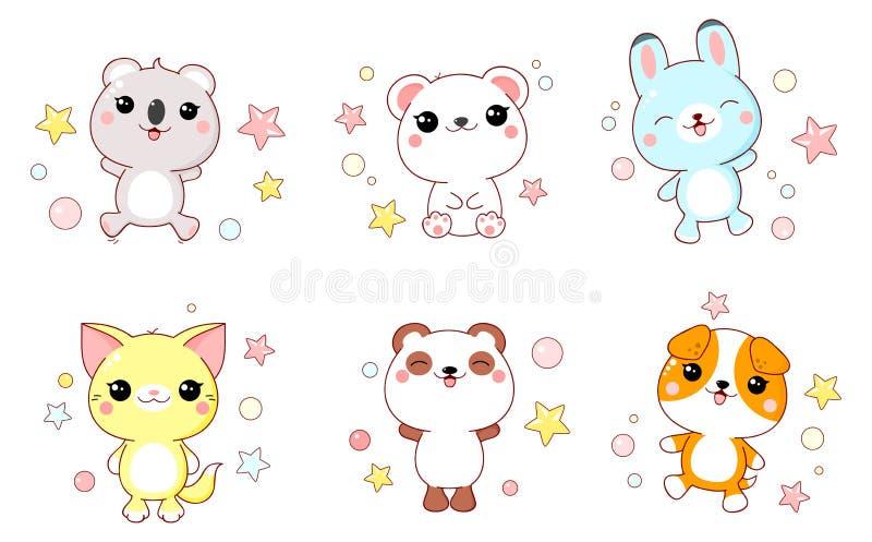 Coleção do bebê bonito dos animais ilustração stock