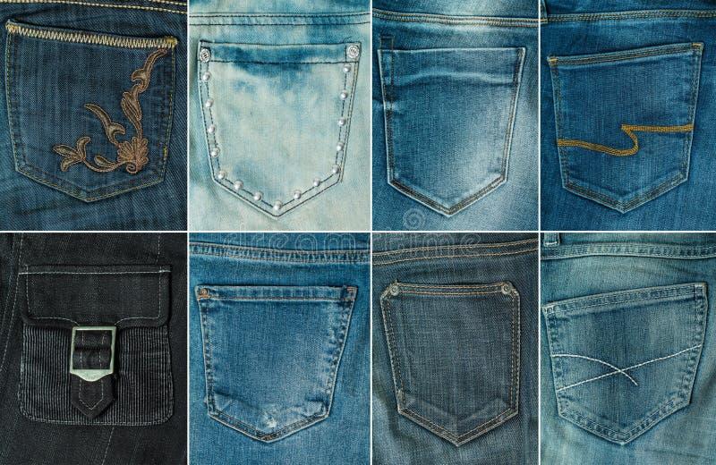 coleção do bolso diferente das calças de brim isolado no branco fotos de stock