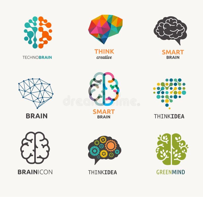 Coleção do cérebro, criação, ícones da ideia e ilustração royalty free