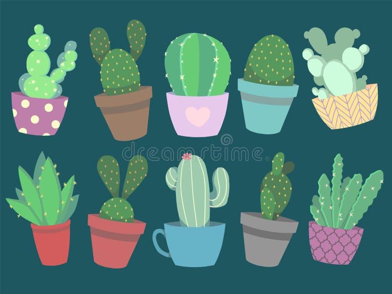 Coleção do cacto colorido bonito do vetor do estilo dos desenhos animados e de plantas suculentos em uns potenciômetros ilustração stock