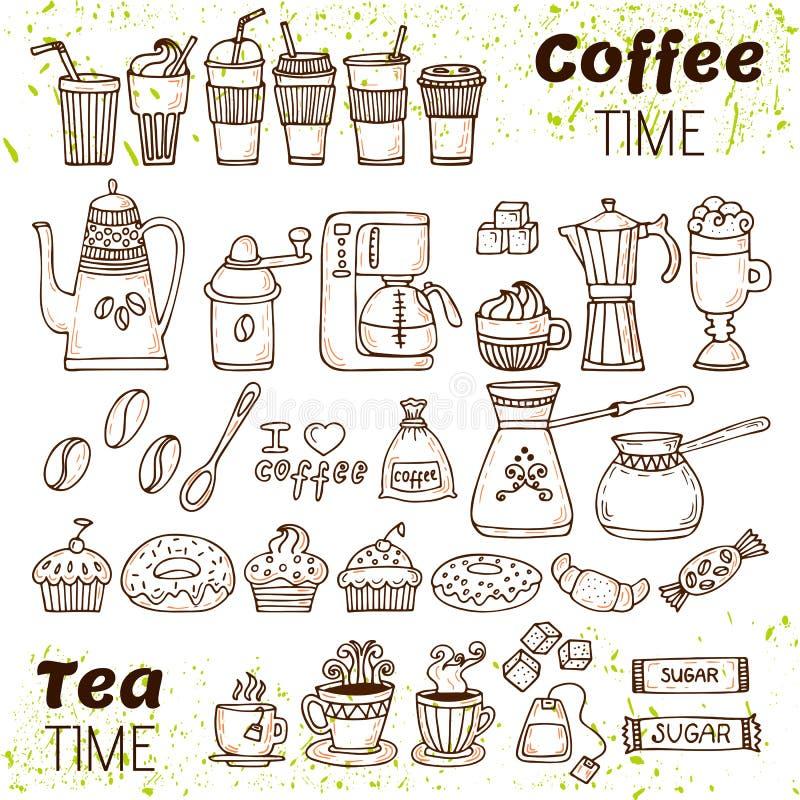 Coleção do café e do chá da tração da mão O esboço rabisca o café e o t ilustração stock