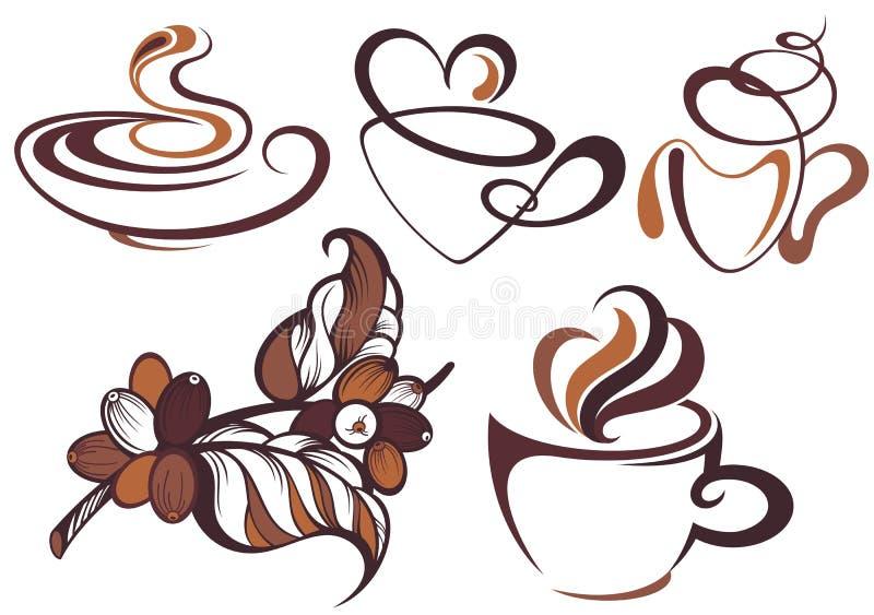 Coleção do café Ramo do café e dos feijões de café ilustração stock