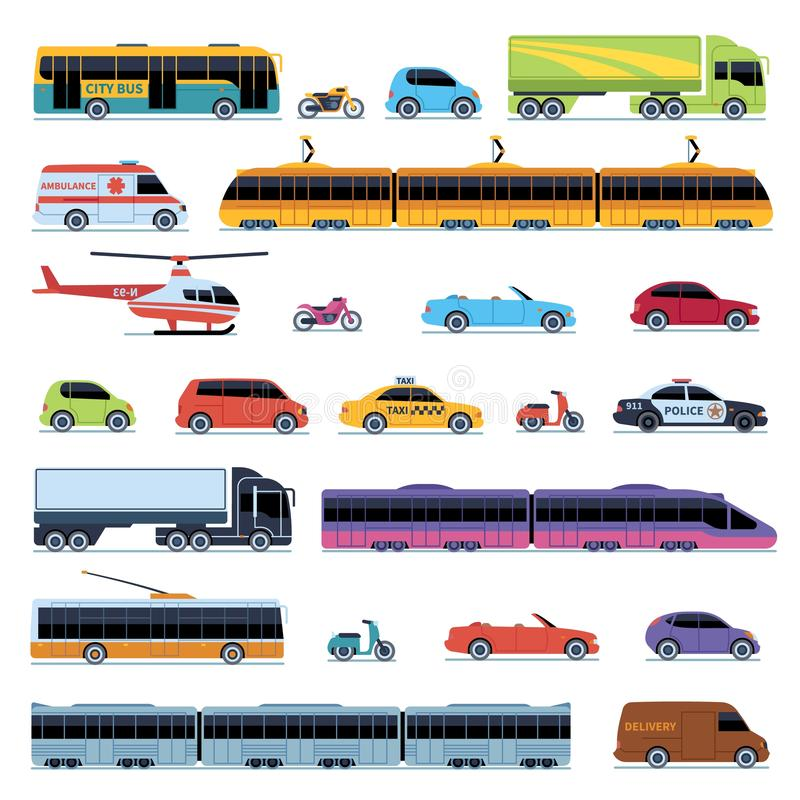 COLEÇÃO DO CARRO Transporte da cidade dos veículos Motocicleta convertível do 'trotinette' da polícia do táxi do ônibus do bonde  ilustração royalty free