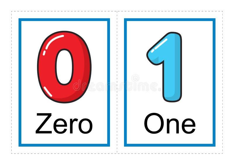Coleção do cartão flash para números e seus nomes para crianças do pré-escolar/jardim de infância | deixe-nos aprender números ilustração do vetor