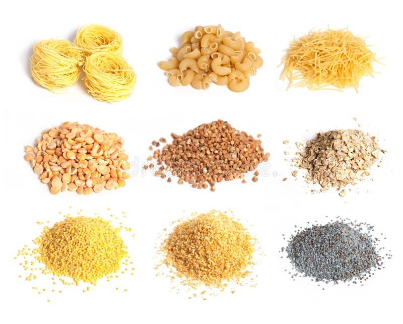 Coleção do cereal, do macarrão e das sementes fotografia de stock royalty free