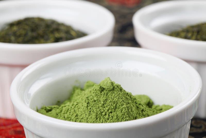 Coleção do chá - pó do chá verde do matcha foto de stock