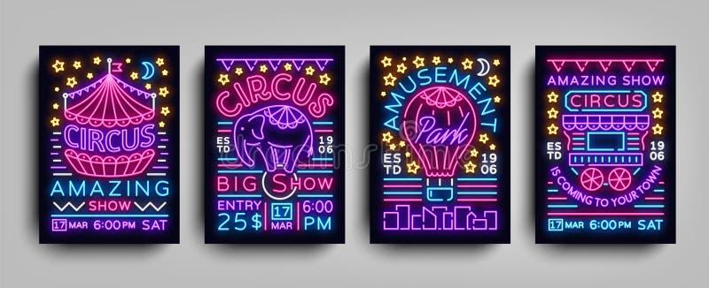 A coleção do circo dos cartazes projeta o estilo do néon dos moldes Grupo dos sinais de néon, barraca do circo, elefante, parque  ilustração do vetor