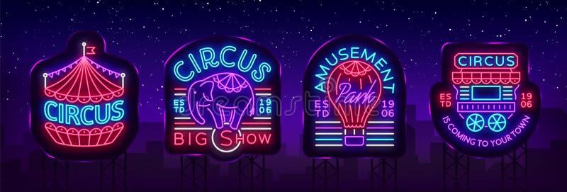 Coleção do circo dos sinais de néon Grupo de logotipos para o circo no estilo de néon, símbolo do circo, bandeira de néon, noturn ilustração do vetor