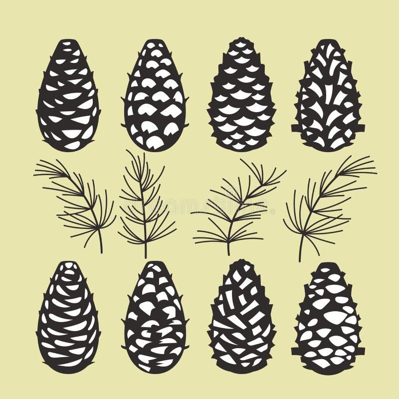 Coleção do cone do pinho de ramos de árvore do Natal com cones e visco do pinho ilustração do vetor
