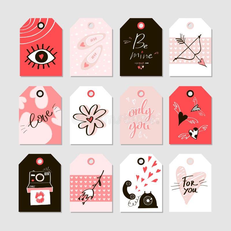 Coleção do dia de Valentim com as 12 etiquetas do presente ilustração stock