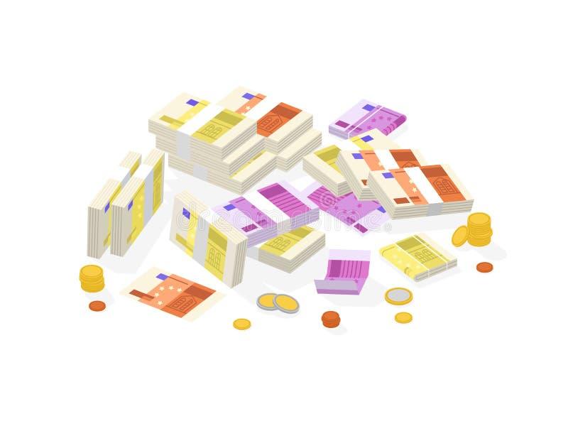 Coleção do dinheiro de autorização isométrico ou da moeda europeia Ajuste das contas ou das cédulas do Euro nos blocos, nos rolos ilustração do vetor