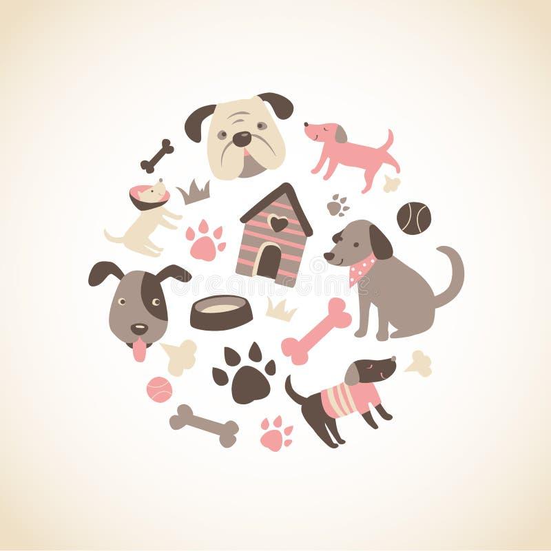 Coleção do Doggy ilustração royalty free