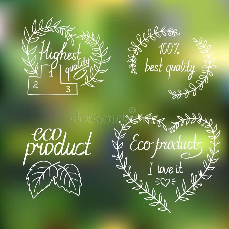 Coleção do eco e de bio etiquetas, crachás ilustração royalty free
