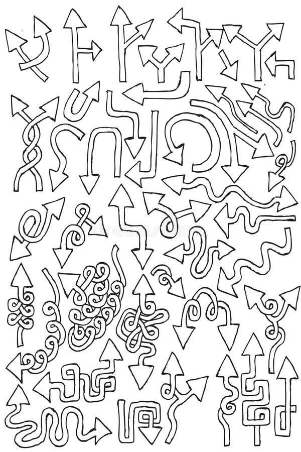 Coleção do elemento da tração da mão das setas ilustração stock