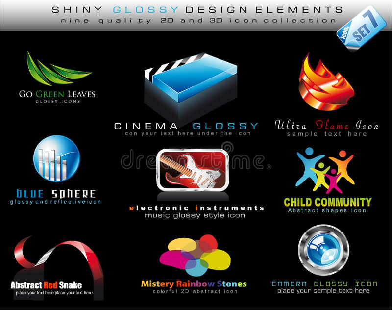 Coleção do elemento do projeto com ícone brilhante colorido ilustração stock