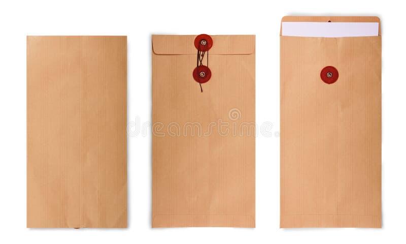 Coleção do envelope de Brown fotos de stock royalty free