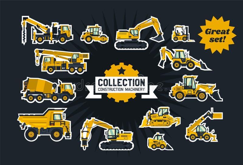 Coleção do equipamento de construção Equipamento especial Os objetos circundaram o esboço branco e isolams em um fundo escuro ilustração royalty free