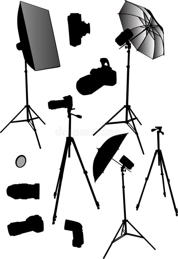 Coleção do equipamento do estúdio da foto ilustração royalty free