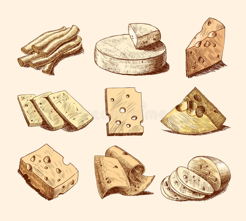 Coleção do esboço do queijo ilustração stock