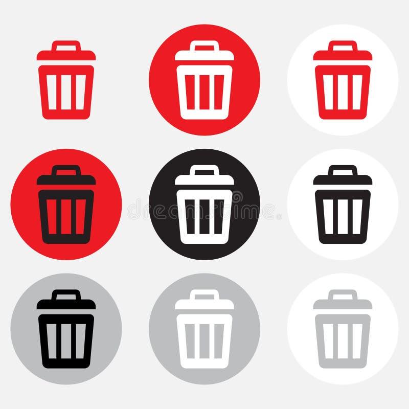 Coleção do escaninho de lixo ilustração stock