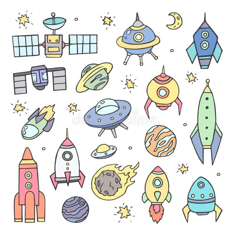 A coleção do espaço esboçado objeta, gráficos coloridos no fundo branco Desenho da mão Os planetas, naves espaciais foto de stock royalty free