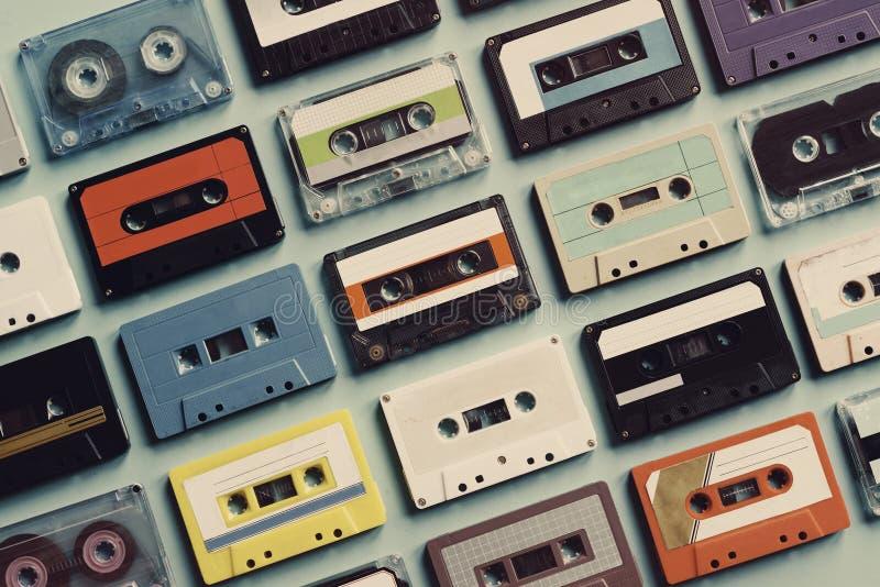Coleção do estilo do vintage da cassete de banda magnética fotos de stock royalty free