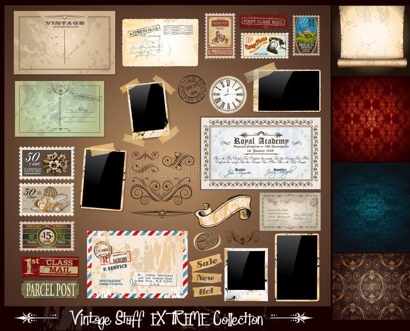 Coleção do extremo do material do vintage ilustração stock