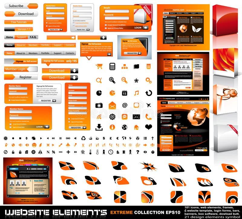Coleção do extremo dos elementos do projeto de Web ilustração stock