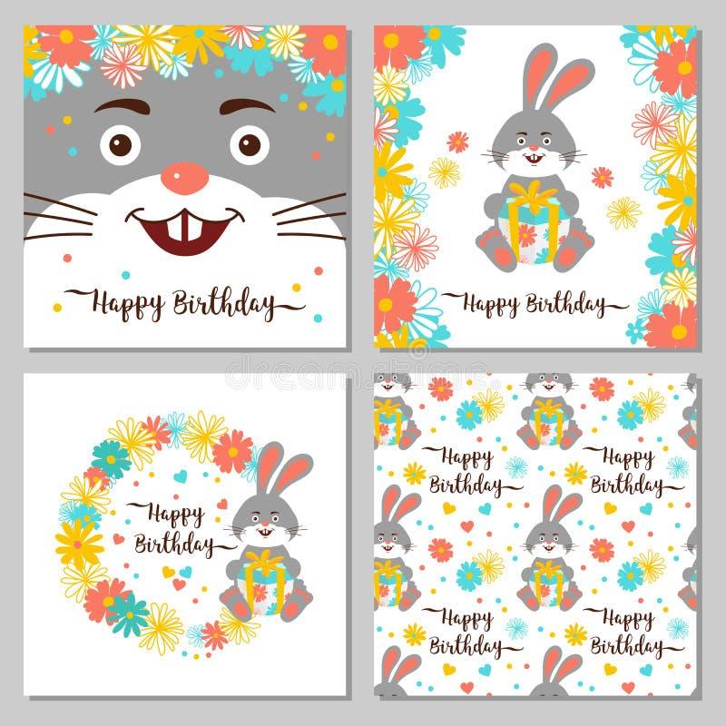 Coleção do feliz aniversario dos cartões e de testes padrões sem emenda Coelho dos desenhos animados, grinalda da flor O coelho b ilustração royalty free