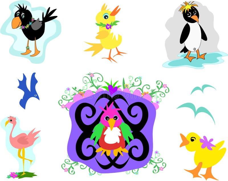 Coleção do flamingo, do pinguim, e dos pássaros ilustração royalty free