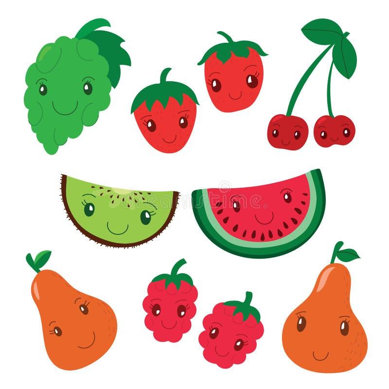 Coleção do fruto e da baga Caráteres de sorriso dos desenhos animados do vetor C ilustração do vetor